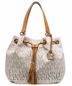 Michael Kors Jet Set MK Signature PVC Large Gathered Tote Handbag Vanilla  NWT #MichaelKors #TotesShoppers