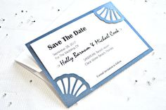 Paper cut shells navy save the date, shell save the date cards, wedding save the date cards, beach save the date cards, navy save the date
