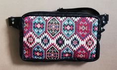 Leather and Aztec tapestry fanny pack With large inner pocket and back pocket Aztec, Diaper Bag, Messenger Bag, Satchel, Tapestry, Pocket, Boho, Trending Outfits, Unique Jewelry