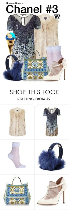 """""""Scream Queens"""" by wearwhatyouwatch ❤ liked on Polyvore featuring Topshop, French Connection, MINX, UGG Australia, Dolce&Gabbana, Valentino, Bulgari, television and wearwhatyouwatch"""