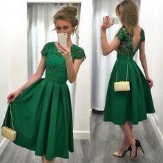 Green Plain Pleated Short Sleeve Fashion Dacron Midi Dress