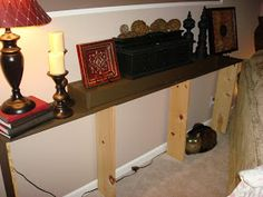 Thrifty Decor Chick: Make a sofa table for under $20. (For real.)
