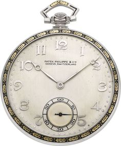 Timepieces:Pocket (post 1900), Patek Philippe Platinum & Enamel Pocket Watch, circa 1920's.... Image #1