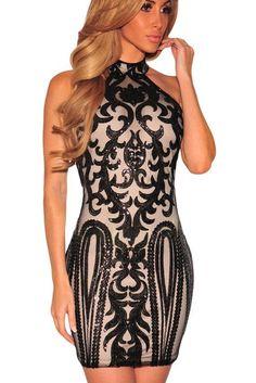 Robe Vintage Paillettes Imprime Noir Clubwear MB22916-2 – Modebuy.com
