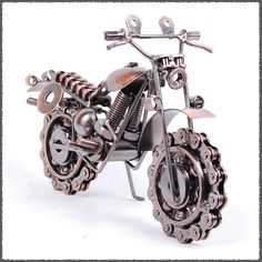 New Wrought Iron art Motor motorcycle model Bike chain wheel 19x8x15cm metal alloy motorbike art model Home decoration-in Crafts from Home &...