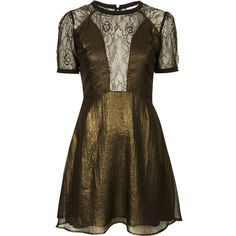 Wyldr Gold Gothic Metallic Chiffon & Lace Dress ($33) ❤ liked on Polyvore featuring dresses, short sleeve lace dress, chiffon cocktail dresses, fit and flare dress, metallic gold dress and short-sleeve lace dresses