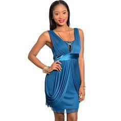 Stanzino Women's Chiffon Empire-waist Cocktail Dress | Overstock.com Shopping - The Best Deals on Evening & Formal Dresses