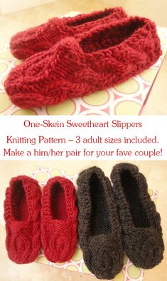 One-Skein Sweetheart Slippers. Perfect for gift-giving! #knitting