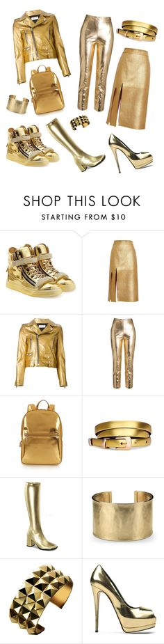 """A gold and shiny metallic collection for the Autumn."" by leatherboy ❤ liked on Polyvore featuring Giuseppe Zanotti, Nina Ricci, Yves Saint Laurent, DKNY and Blue Nile"