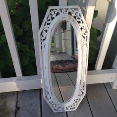 Vintage ornate mirror shabby chic white oblong by MySugarBlossom, $37.00