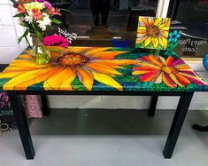 Colorful Wood Table / Refinished Kitchen Table / Handpainted Table / Resin Finished Table / Faux Stained Glass Table / Unique Dining Table - All About Decoration