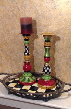 Hand Painted Wood Candle Sticks  custom  by paintingbymichele, $55.00