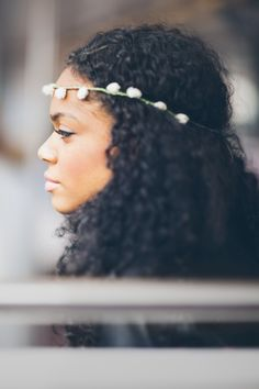Natural curly hair Flower crown