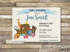 Custom Cute Printable Invitations by meenieME.com #NoahsArk animal theme invitation baby shower birthday invitation Noah's Ark elephant giraffe lion invitation