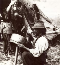 A Kalderash man working. 1930s.    A photo from Florin Petru Manole's archive.