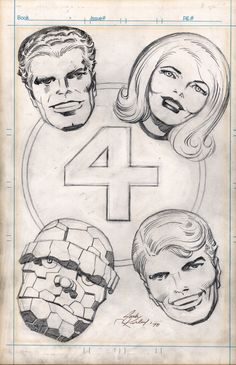 Jack Kirby Fantastic Four 1970s Pin up, vintage!, in Rob Pistella's Marvel Comics Art Comic Art Gallery Room