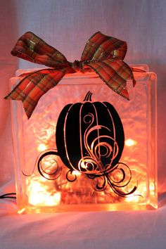 Fall or Halloween Lighted Glass Blocks by WorldofAKD on Etsy, $20.00