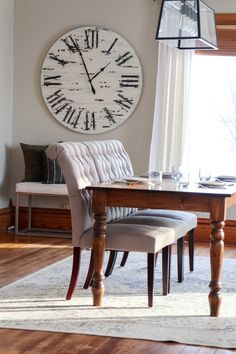 """Oversized white distressed shiplap wall clock. 42"""" in diameter. Free shipping nationwide. Dining Bench, Dining Chairs, Handmade Clocks, Ship Lap Walls, Free Shipping, Wood, Modern, Furniture, Home Decor"""