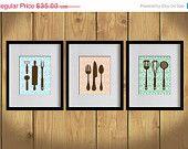ON SALE Kitchen Art Print - Damask Art, Dining Utensils, Cooking Utensils - Set of 3 - 8X10 - Mint Green, Pink, Sky Blue, Brown- No. KB006-