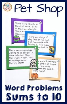These pet shop word problems are the perfect way to get your students practice solving word problems! Students will solve addition and subtraction problems with the unknown in all places. Second Grade Teacher, First Grade Teachers, First Grade Math, Number Line Activities, Class Activities, Math Problem Solving, Math Intervention, Unique Words, Addition And Subtraction