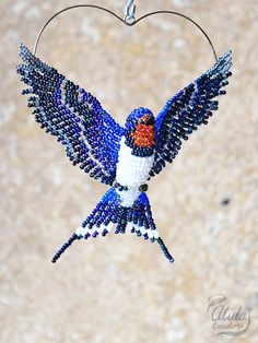 Barn Swallow Ornament, Beaded Bird Suncatcher, Swallow Bird Necklace, Window Decor, Bird Room Decor, Bird Figurine, Bird Lover Gift, BB#282