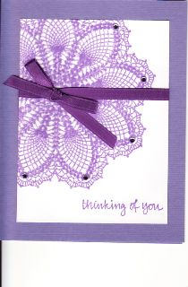 """My version of a """"Hello Doily"""" card using the Stampin Up stamp of the same name. . .the crystal embellishments are the same purple color as the ink and ribbon."""