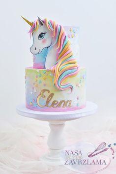 Unicorn Cake by Nasa Mala Zavrzlama cake decorating recipes kuchen kindergeburtstag cakes ideas Pretty Cakes, Cute Cakes, Beautiful Cakes, Amazing Cakes, Cool Birthday Cakes, Birthday Cake Girls, Unicorn Birthday Parties, Unicorn Party, Fondant Birthday Cakes