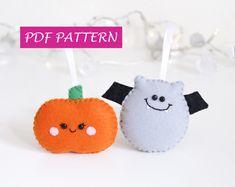 PDF Halloween pattern, zucca e pipistrello feltro decorazioni, addobbi casa, cucito facile, cartamodello, fai da te, istruzioni con foto