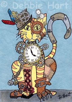 Original ACEO TW NOV Steampunk Cat DEBBIE HART Hat Gears Claw Clock Feathers NEW #Whimsical
