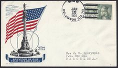 USS Columbus (CA-74) Ship cover: …to Barcelona, Spain   12 January 1953. The cover cachet shows the Christopher Columbus Monument and the flag of the United States.   Stamp: Scott C132 Queen Isabella tied by USS Columbus (CA-74) cancellation. Backstamp: 13 January 1953.