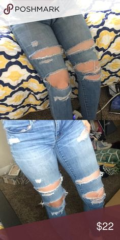 Ripped blue jeans These are some trendy distressed light wash jeans, theyre about a year old and still in good condition. American Eagle Outfitters Jeans Skinny