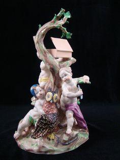 Stunning Antique Nymphenburg Porcelain Putti Cherub Bird Catcher Figural Group #Nymphenburg