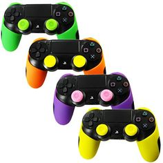 Skin Compatible for Controller Pandaren Soft Silicone Thicker Half Skin Cover Grip for /Slim/PRO Controller (Skin X 4 + Thumb Grip X Playstation 4 Bundle, Playstation 4 Console, Nintendo Ds, Wii U, Xbox 360, Playstation 4 Accessories, Red Skin, Ps4 Controller, Orange And Purple