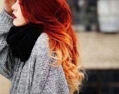 Image via We Heart It https://weheartit.com/entry/149865552 #curls #fashion #fire #girl #hair #lipstick #orange #red