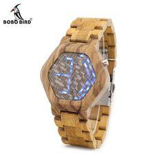 4dd07a499ff BOBO BIRD E02 LED Digital Watch Mens Kisai Night Vision Zebra Wood Watch  Minimal Design With. Relojes ...