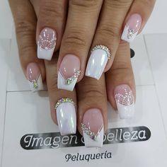 Lace Nails, Toe Nail Designs, French Nails, Nail Trends, Simple Nails, White Nails, Manicure And Pedicure, Nail Arts, Wedding Nails