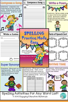 These spelling activities work so well for my students' differentiated spelling lists!  AND it provides me with a writing center!  Win!  Win!