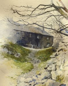 Path to Ysgwrn, mixed media painting by Rob Piercy Landscape Drawings, Architecture Drawings, Landscape Illustration, Watercolor Landscape, Abstract Watercolor, Landscape Art, Landscape Paintings, Watercolor Painting Techniques, Gouache Painting