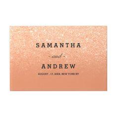 Copper tan faux glitter chic ombre guest wedding guest book