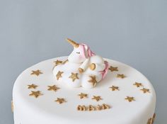Cute Unicorn & Cloud Fondant Cake Topper, Stars and Clouds, Gold Glitter, Name Block Letters, 3D Edible Unicorn, Personalized Name Blocks, Fondant Cake Toppers, Unicorn Cake Topper, 3d Cakes, Sugar Paste, Cute Unicorn, Block Lettering, Food Coloring, Baby Shower Cakes