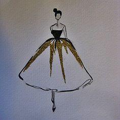 ORIGINAL haute couture fashion illustration by CeciliaGraceDesigns, $58.00