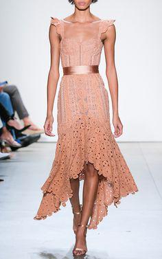 Macramé Ruffle Bustier Dress by JONATHAN SIMKHAI for Preorder on Moda Operandi