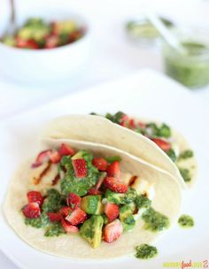 Strawberry Salsa Fish Tacos with Ginger-Cilantro Vinaigrette   |   @hungryfoodlove
