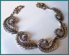 "Vintage Statement Choker Necklace Silver Etched Metal Feather Leaf Design 16.5"" EX"