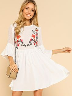 Gesmocktes Kleid mit Blumen Stickereien- German SheIn(Sheinside) Blumen  Stickerei, Stil, 48069a4d63