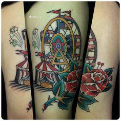 Tattoo by Dmitry Rechnoy XKtattoo studio… Torso Tattoos, Body Art Tattoos, Sleeve Tattoos, Funky Tattoos, Crow Tattoos, Phoenix Tattoos, Circus Elephant Tattoos, Circus Tattoo, Carousel Tattoo