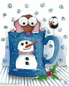 Original Watercolor Painting Christmas Snowman Mouse Mug Bird Crow Mistletoe | eBay