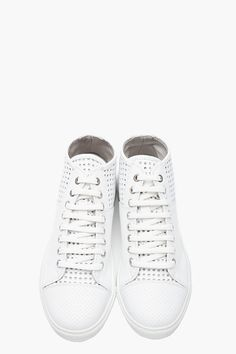 NEIL BARRETT White perforated nappa mid-top sneakers. High Top SneakersShoes  ...