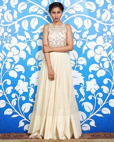 Cream Gown with Gota Embroidered Bodice