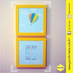 Quadro duplo 'Dream Big' com a moldura amarela 20x20cm/cada